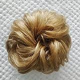 Kbeth Messy Bun Hair Piece Hair Buns 100% Really Bun Human Hair 2 PCS Messy Bun Scrunchy Wave Curly Chignon Hair Piece for Women Kids and Wedding Updo Donut Hair Clip Extension Ponytails (2 piece/pack, #27 Ginger Brown)