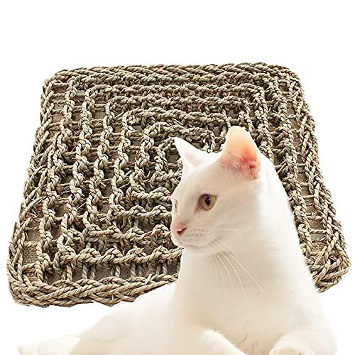 RUIYELE Alfombra tejida de hierba natural para animales pequeños, 18 x 18 cm, alfombrilla de nido para mascotas, conejo, hámster, rata