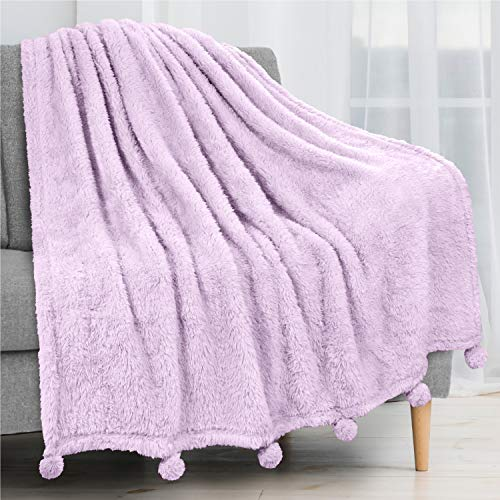 PAVILIA Plush Sherpa Throw Blanket with Pom Pom Fringe, Lavender Lilac Purple | Fluffy Fleece Tassel Throw for Sofa Bed Couch | Soft Fuzzy Shaggy Lightweight Decorative Blanket | 50 x 60 in