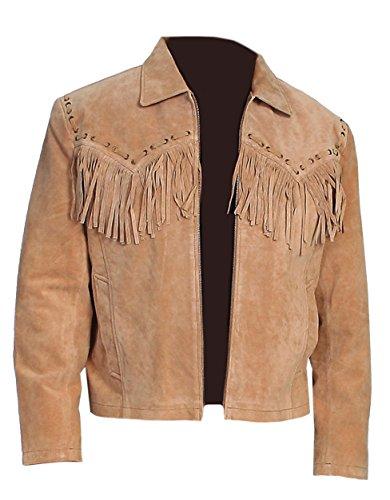 Classyak Hombre Western Cowboy Suede Leather Chaqueta Marrón