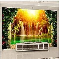 Xbwy 装飾壁画 3D壁紙Hd牧歌的なスタイルの滝自然風景壁画ダイニングルームリビングルーム背景-120X100Cm