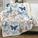 Sleepwish Butterfly Print Sherpa Fleece Blanket for Women Girls White Vintage Blue Watercolor Butterflies Pattern Fuzzy Soft Bed Blanket for Couch Sofa Bed Throw(50'x60')