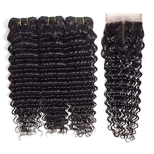 3 paquetes con cierre de cabello brasileño ondulado 8A cabello humano, una solución de color natural, extensiones de cabello humano de venta caliente, extensiones de cabello humano para mujer