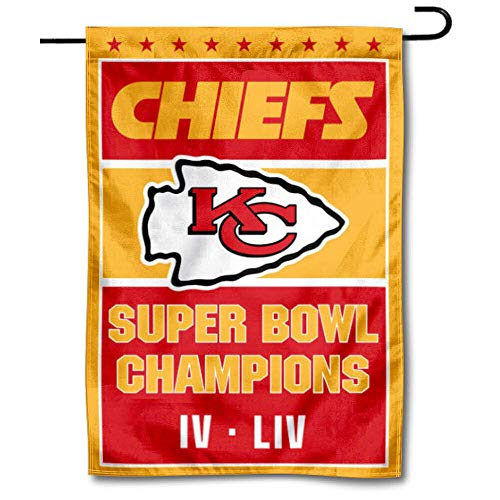 WinCraft Kansas City Chiefs Super Bowl 2 Time Champions Double Sided Garden Banner Flag