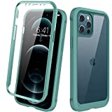 Diaclara Designed for iPhone 12/12 Pro Case, Full Body Rugged Case with Built-in Touch Sensitive Anti-Scratch Screen Protector, Soft TPU Bumper Case for iPhone 12/12 Pro 6.1' (Midnight Green)