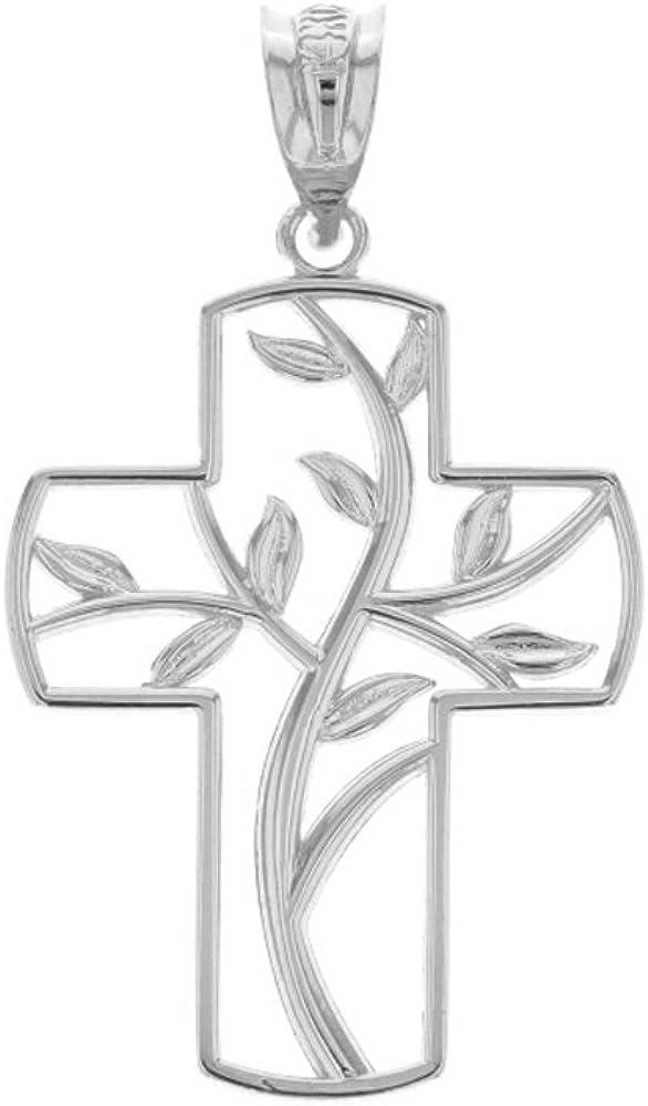 CaliRoseJewelry 14k Gold Tree of Life Cross Charm Pendant