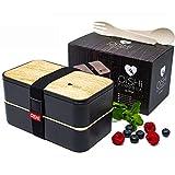 OISHI LUNCHBOX - Design Bento Box mit Bio-Besteck + 2 luftdichten Fächern + Trenner - für...