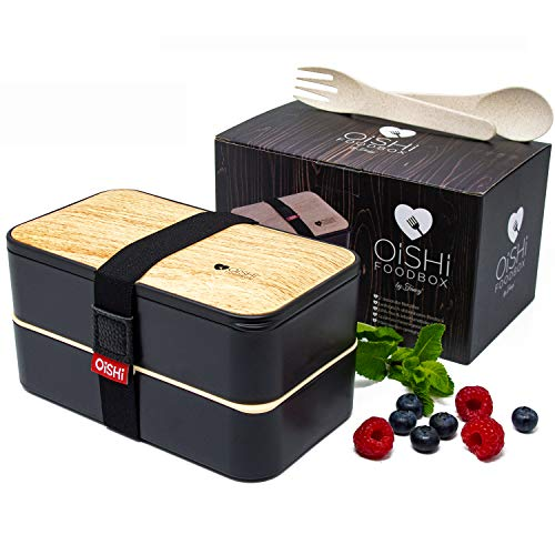 OISHI FOODBOX Boîte à bento design avec couverts bio + 2 compartiments hermétiques + séparateur | Sans BPA | lave-vaisselle et micro-ondes | Boîte à déjeuner japonaise aspect bois noir