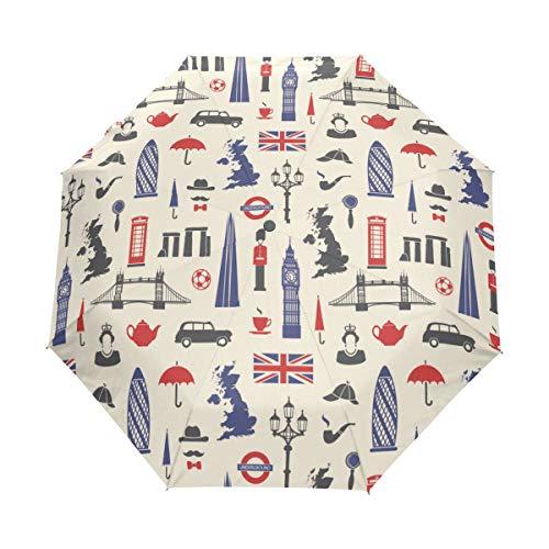 Jeansame Soldaten Theepot Grote Ben Vintage Britse kaart Vouwen Compacte Paraplu Automatische Regen Paraplu's voor Vrouwen Mannen Kid Jongen Meisje