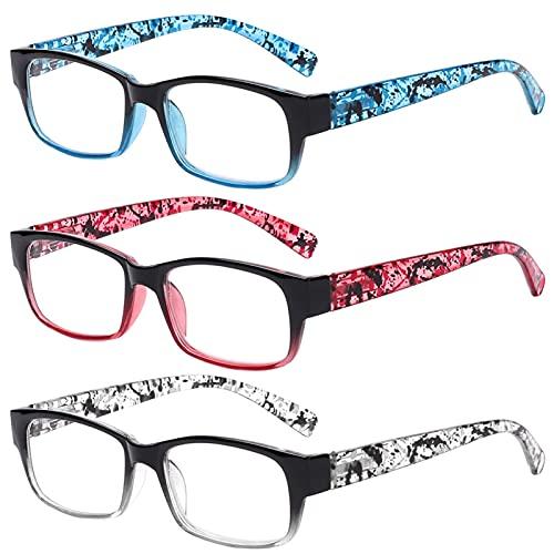 Gafas de Lectura, Gafas de Lectura de Moda de 3pack, Gafas de Lectura de Resina con Estampado de Flores de bisagra de Primavera, Gafas presbiopicales, Gafas Protectoras