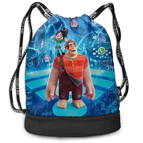 KINGAM Wreck It Ralph - Mochila con cordón para tirar y tirar, tamaño grande, con cremallera, resistente al agua, deportes, gimnasio, compras, yoga, danza, playa, regalos para mujeres, hombres y niños