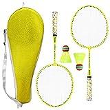 Outdoor Sport Badminton Rackets Badminton Set 1 Pair Badminton Rackets with Balls 2 Player Badminton Set for Children Indoor Outdoor Sport Game Workout Accessories