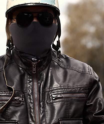 BlackNugget ® Bedrucktes Multifunktionstuch mit ausgefallenem Design - Hochwertige Sturmhaube als Wärm- und Schutztuch - Halstuch, Face Shield, Gesichtsmaske - Schwarz - 6