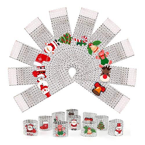 Gukasxi Weihnachtsserviettenschnalle,10 Stück Funkelnde Strass-Serviettenringe,Serviettenschnallenhalter für Weihnachten,Party,Hochzeit,Tischdekoration (Silber),Santa Bling Serviettenringe (10 Arten)