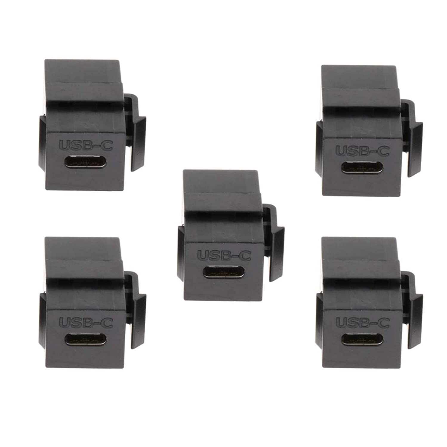 Flameer 5Pack USB C Type C Connector Keystone Jack for Wall Plate Outlet Panel Black