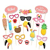 Tinksky 21pcs Flamingo Hawaii Sommer Themenfest Photo Booth Requisiten Kit Luau Partei liefert für Urlaub Hochzeit Party Favors
