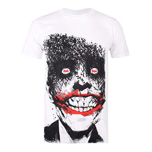 DC Comics Joker Eyes Camiseta, Blanco (White Wht), Large para Hombre
