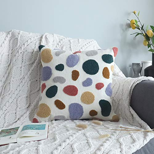 Vanncio Modern Textured Throw Pillow Cover, Embroidered Decorative Pillowcase with Mid Century Accent for Home Couch Sofa Beds Décor, 1 Piece (Colored Pebbles)
