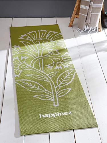 Happinez Yogamatte, Grün-Silber mit Blumen-Druck, Gymnastikmatte, Sportmatte, mit Tragegurt, Dicke 6 mm, für alle Yoga-Stile (183 cm x 61 cm)