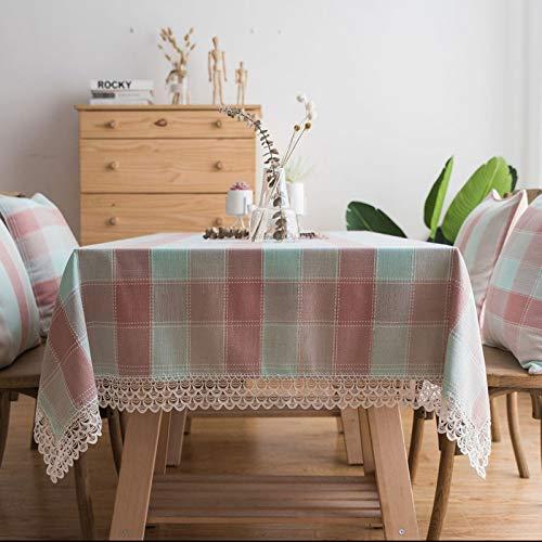 Mantel Impermeable, Tapete de Mesa Bordado de Encaje a Cuadros, Tablecloth Rectangulares para Comedor, Cocina, Bodas Y Fiestas