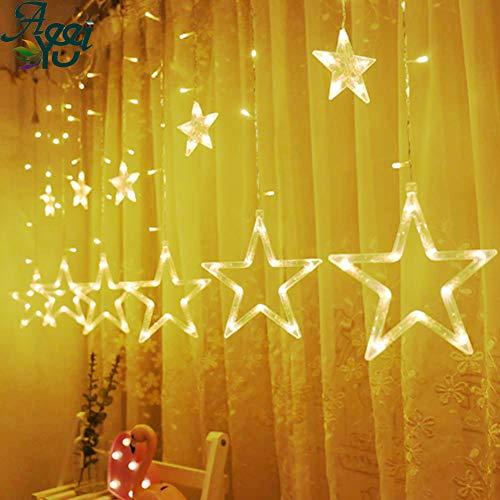 Catena Luminosa con Sfere a LED, Luci di Natale, Decorazioni Natalizie, 12 Stelle, 138 luci, Tenda a Stella, 8 modalità,Telecomando USB,Bianco Caldo