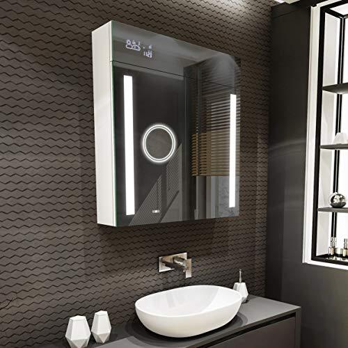 Artforma Armadietto da Bagno con Specchio e Illuminazione LED con 2-Porta (66 x 72 x 16,6 cm)   17 Colore del Prodotto a scelta   Parete Bagno Armadietto