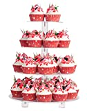 """YestBuy 4 Tier Round Acrylic Cupcake Stand with Base, Premium Cupcake Holder, Acrylic Cupcake Tower Display Cady Bar Party Décor – Display for Pastry (4"""" Between 2 Layers)"""