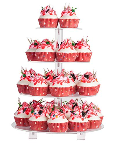YEST 4 Tier Maypole Round Wedding Party Tree Tower Acrylic Cupcake Display Stand