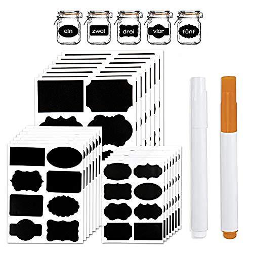 AISHNA Blackboard Stickers, 168 Pieces 21 Sheets/Set Other Sizes, Waterproof Blackboard Stickers, Crafts, Glasses, Kitchen Organiser, Labels Chalk Board Sticker, Black Board