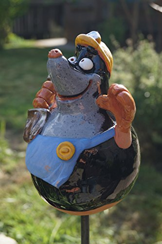 TB Keramik Maulwurf Handarbeit Gartenkugel Gartenstecker Dekoration Terrasse Figur