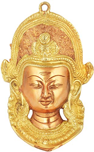 Exotic India Lord Indra Wall Hanging Mask with Horizontal Third Eye - Brass Statues - Color Copper Gold Color