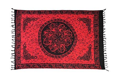 Ciffre Sarong Pareo Wickelrock Strandtuch Tuch Wickeltuch Handtuch Bunte Sommer Muster Set + Gratis Schnalle Schließe (Keltisch Rot KCR)