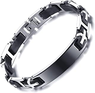 YABINI Mens Fashion Titanium Steel Great Wall Pattern Silica Gel Bracelets Bangle
