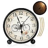 Victop - Reloj despertador clásico con despertador de mesa, silencioso, sin luz de noche, 12 x 11,5 x 5,5 cm