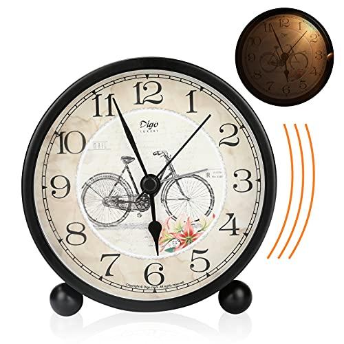 Sveglia Stile Vintage silenziosa Victop Orologio sveglia batteria uce notturna campana Sveglia da Comodino Senza Ticchettio 12* 11.5 * 5.9 cm