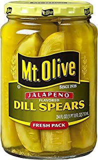 Mt. Olive Jalapeno Pickles 24oz Glass Jar (Pack of 2) Select Flavor Below (Dill Spears)