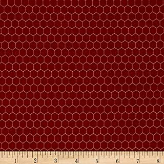 Fabri-Quilt Rooster Inn Chicken Wire Red Fabric By The Yard