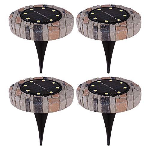 4x LED Solar Leuchten Außen Erdspieß Strahler Stein Optik Garten Weg Spot Steck Lampen Globo 33414S-4
