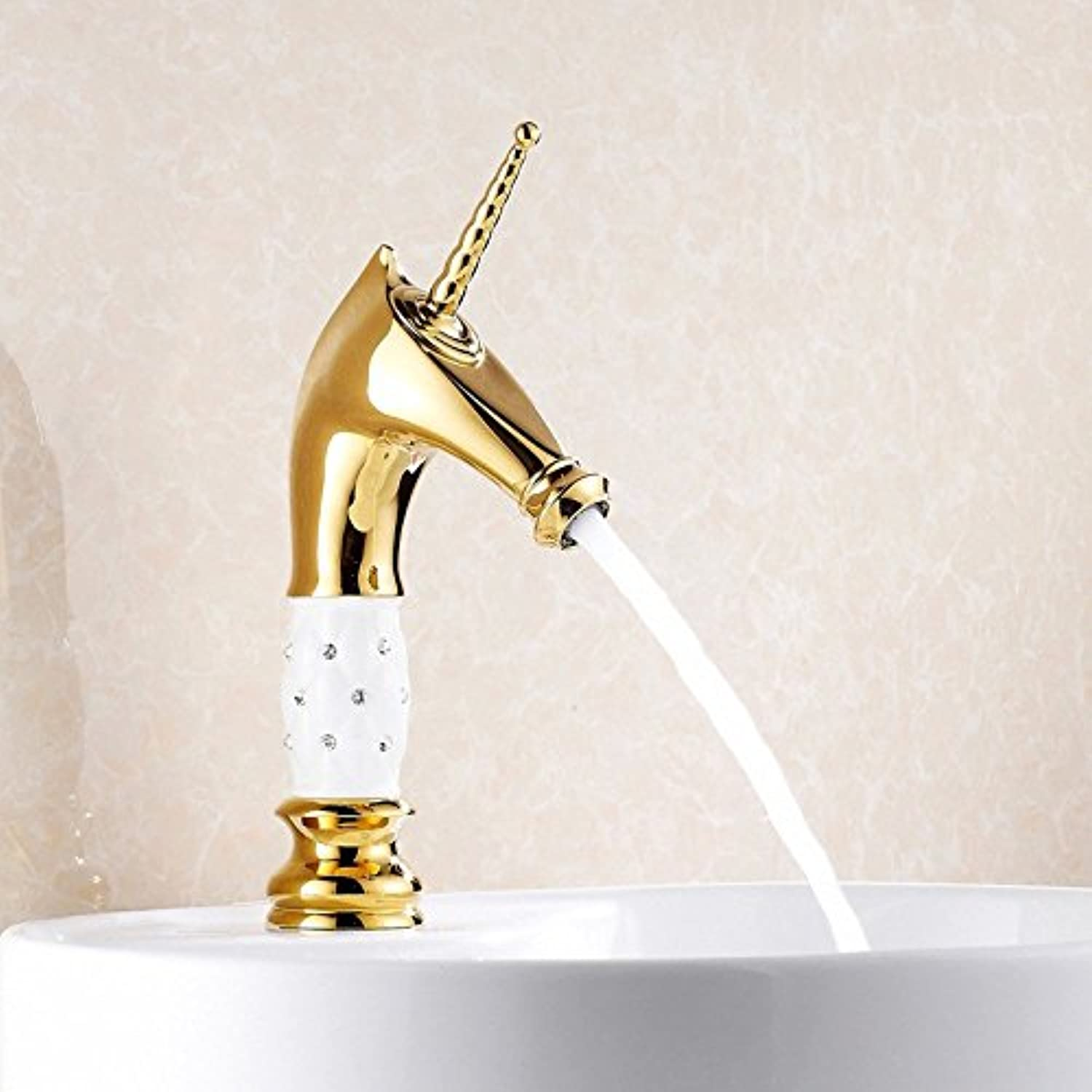SHLONG Tap gold-Plated Faucet Copper Hot and Cold Faucet Basin gold with Diamond Faucet