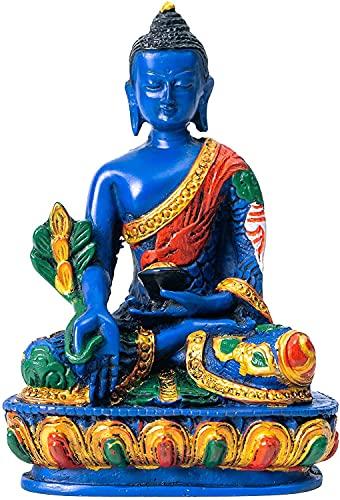 Juccini Buddha Meditation Statue - Indoor, Outdoor, Garden Buddah Decoration - 5' Colorful Spiritual Buda Figurine for Home & Office Decor - Hand Painted in Nepal (Medicine Buddha)