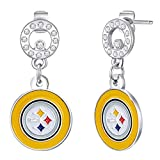 Pro Specialties Group womens NFL Pittsburgh Steelers Circle Post Earrings , Small