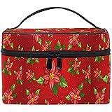 Weihnachten Red Holly Make-up Tasche Xmas Poinsettia Schneeflocken Kosmetiktasche Kulturbeutel Zip...