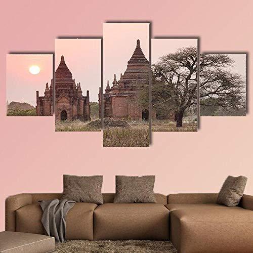 Cuadro Moderno Lienzo Decoración Templos budistas Myanmar Cuadro de Pared impresión artística fotografía Imagen gráfica Pintura Estirado Enmarcado