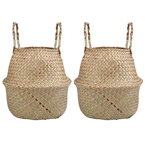 Yesland 2 Pack Woven Seagrass Plant Basket with Handles, Ideal for Storage Plant Pot Basket, Laundry, Picnic, Plant Pot Cover, Beach Bag and Grocery Basket (L)