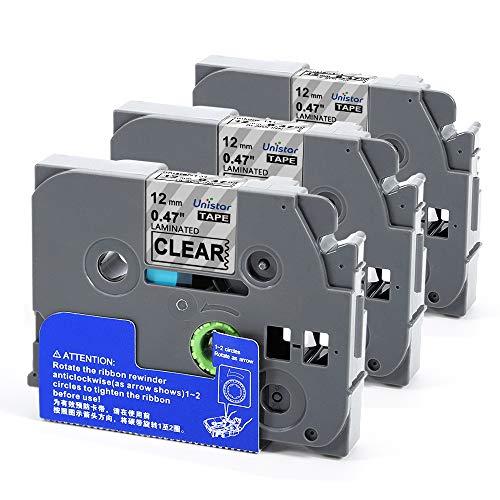 Nastri per Etichette Unistar Compatibile In sostituzione di Brother TZe-131 TZ131, 12mm x 8m Nero su Trasparente para Brother P-Touch 1000W 1010 1090 1830VP 2030VP GL100 PT200 PT1000 (3-Pack)
