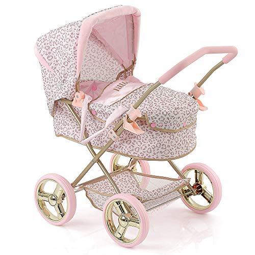 Hauck Puppenwagen Gini Little Diva - Luxus Puppenkinderwagen mit Tragetasche im Leoparden-Look - Rosa Gold
