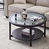 Black Round Coffee Table, with Tempered Glass and Open Storage Shelf, for Small Space and Living Room