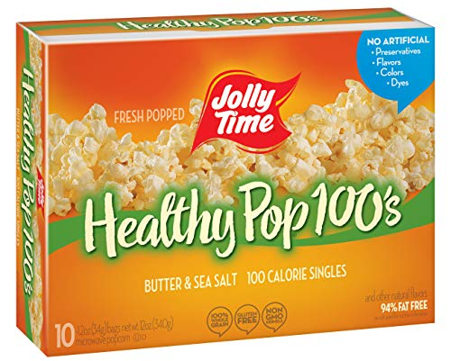 Jolly Time Healthy Pop Butter Minis 100 Calorie Mini Microwave Popcorn Bags for Portion Control (10-Count Box), 12 ounce (28190001119)