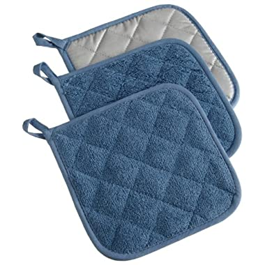 DII Cotton Terry Pot Holders, 7x7   Set of 3, Heat Resistant and Machine Washable Hot Pads for Kitchen Cooking and Baking-Blue
