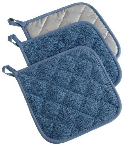 DII 100% Cotton, Terry Pot Holder Set Machine Washable, Heat Resistant, 7 x 7, Blue, 3 Piece